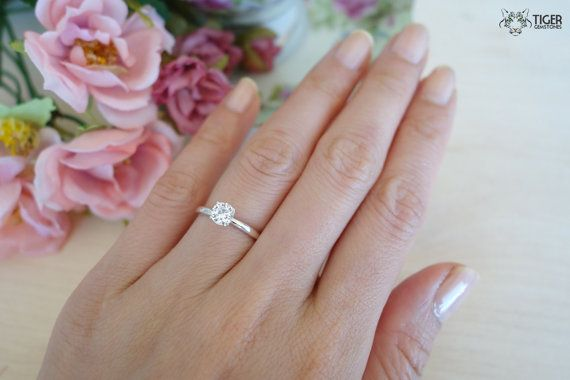 1 2 Carat 5mm Solitaire Engagement Ring 4 Prong Round Man Made Dia Wedding Rings Solitaire Gold Solitaire Engagement Ring Solitaire Engagement Ring Rose Gold