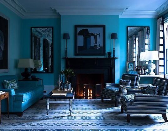 All Blue Spaces Monochromatic Color Scheme Blue Walls And Room