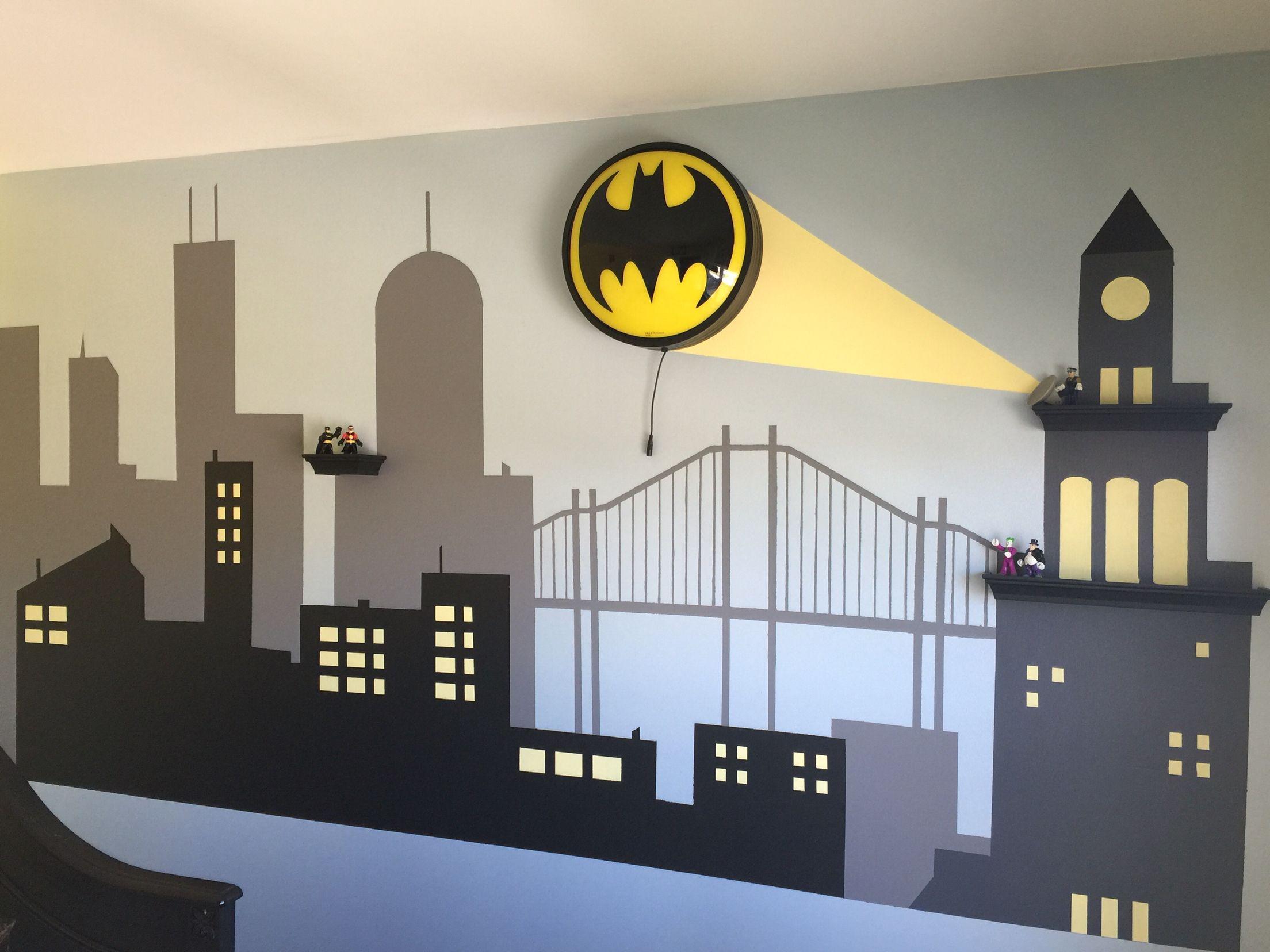 Batman Kinderzimmer ~ Gotham city batman bedroom diy surprise for my son! : my #diy