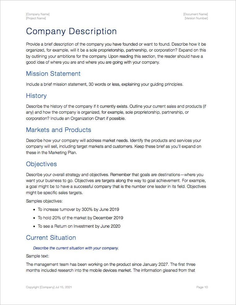 business plan description in 2020 Business plan template