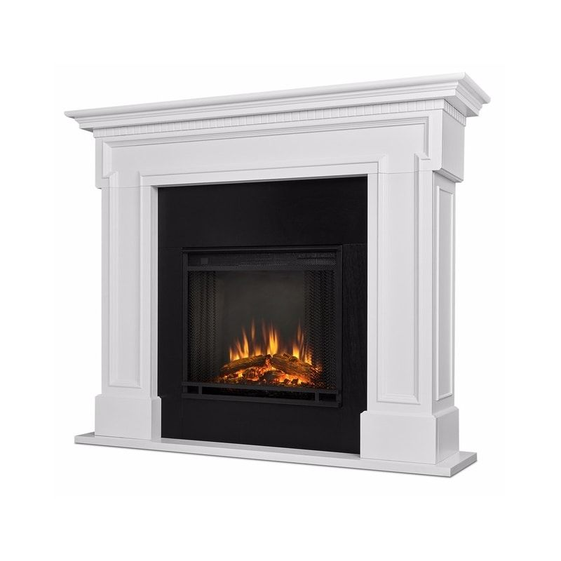 Real Flame 5010e W White Thayer 4 780 Btu 1 500w Freestanding Mantel Electric Fireplace With Remote Control Real Flame White Fireplace Mantels Electric Fireplace With Mantel
