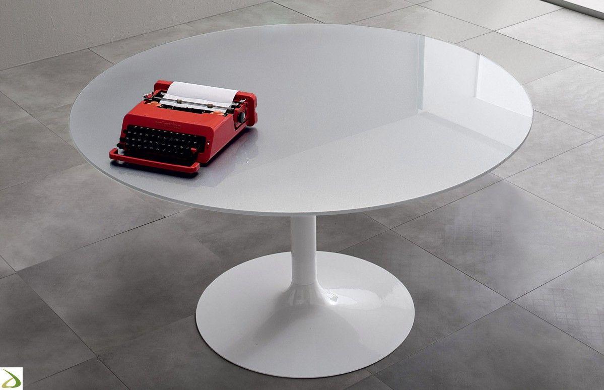 Tavolo moderno rotondo con piano in vetro e gamba in metallo ...