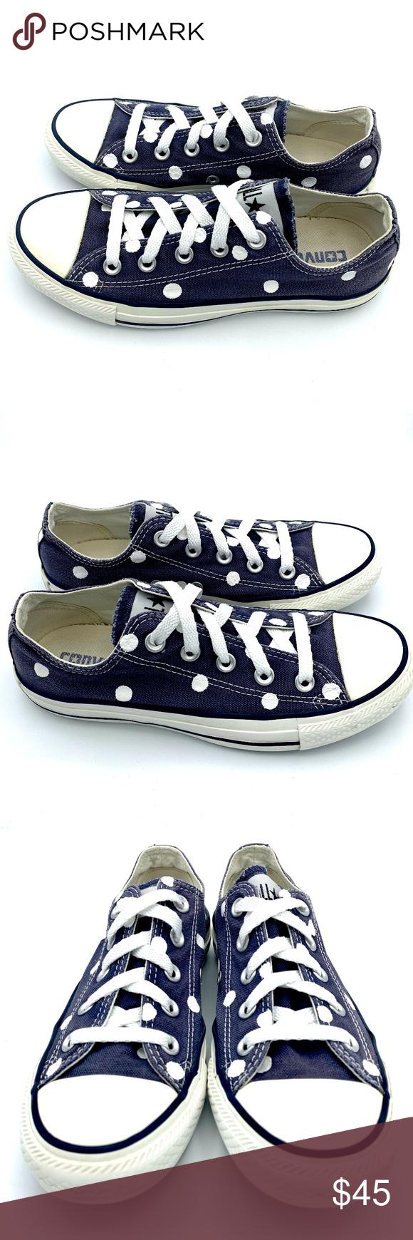 73e1ab8ee6c3 Converse 6 NAVY BLUE Polka Dot Chuck Taylor AS  2 Hand painted unisex Converse  Chuck