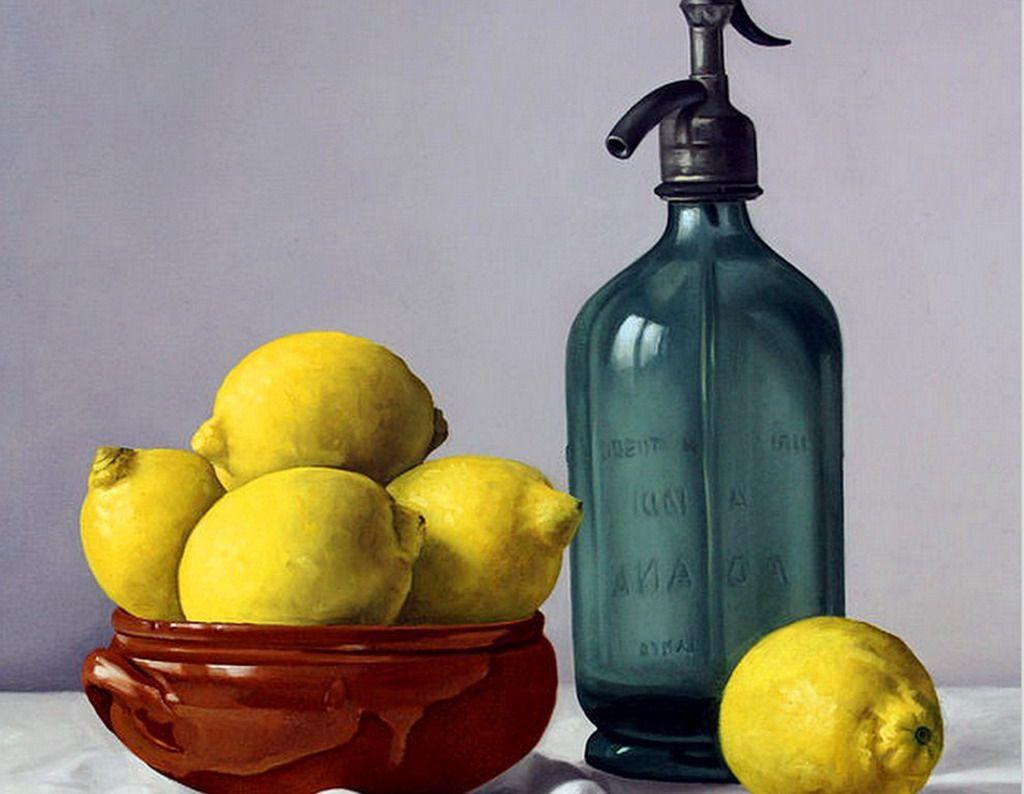 Cuadros Modernos Pinturas : Bodegones de Fresas, Limones, Manzanas y ...