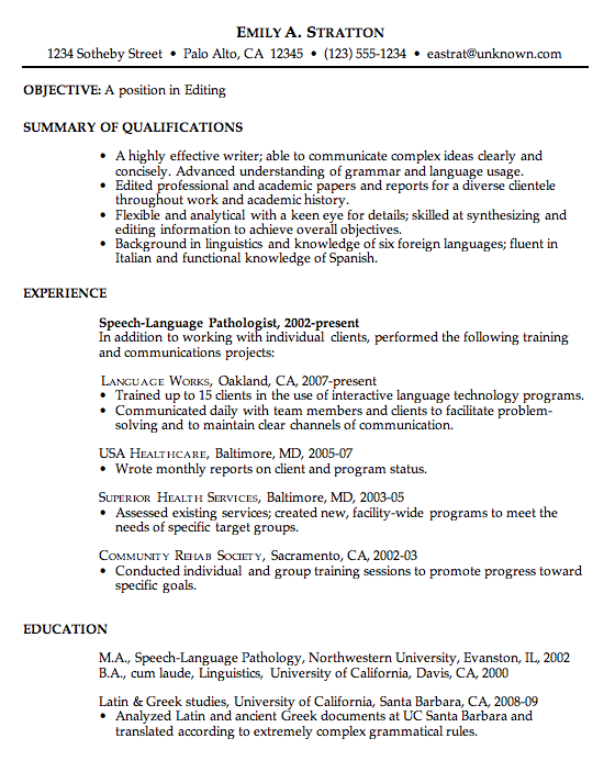 Resume Sample For An Editor Susan Ireland Resumes Resume Objective Examples Resume Writing Examples Job Resume Examples