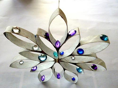 Stern aus Küchenpapierrolle und Perlen - Weihnachten-basteln ...