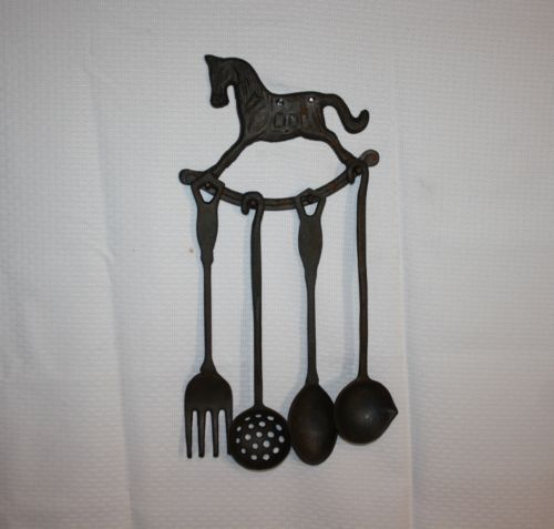 Vtg 7 Wall Mounted Cast Iron Rocking Horse Utensil Holder