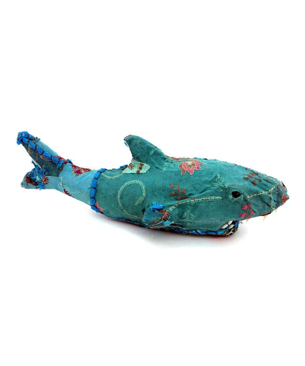 Vintage-Inspired Sari Fabric Shark Figurine