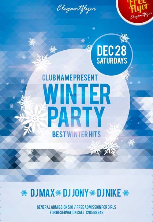 Winter Party Free Club And Party Flyer Psd Template  Winter Dance