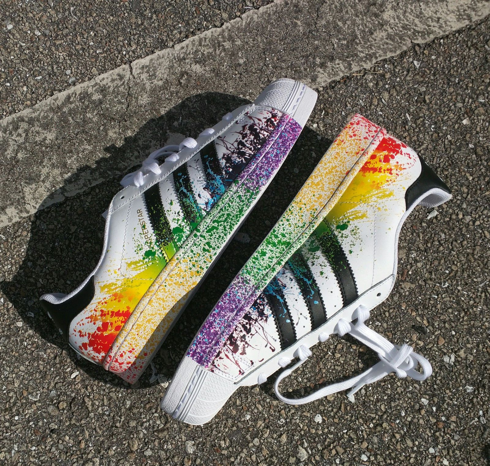 Adidas Originals SUPERSTAR Rainbow Paint Splatter White Black LGBT $259.00