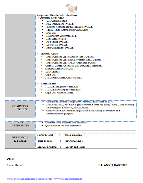 1 to 2 year work experience resume  page 2