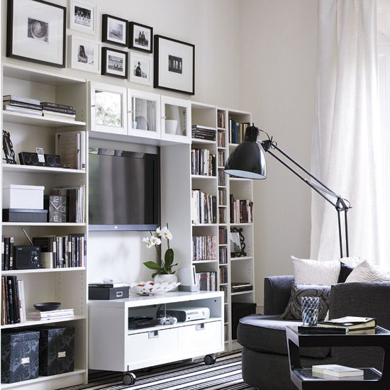 Build a media storage system A TV can take up valuable space in your - wohnideen wohnzimmer arbeitszimmer