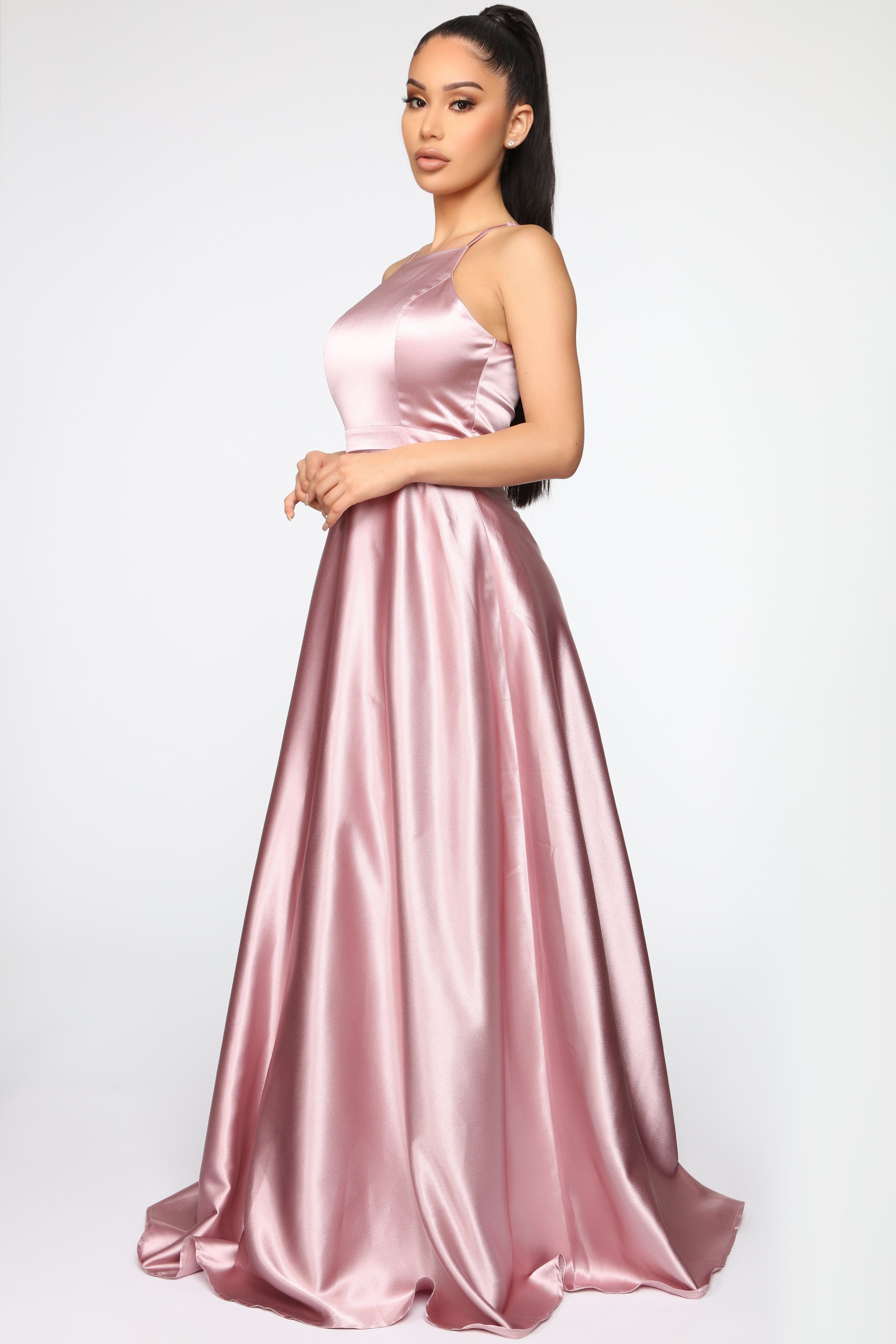 Fascinating Satin Dress Mauve in 2020 Satin dresses