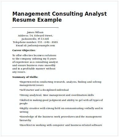 Management Consulting Analyst , Management Consulting Resume - resume check