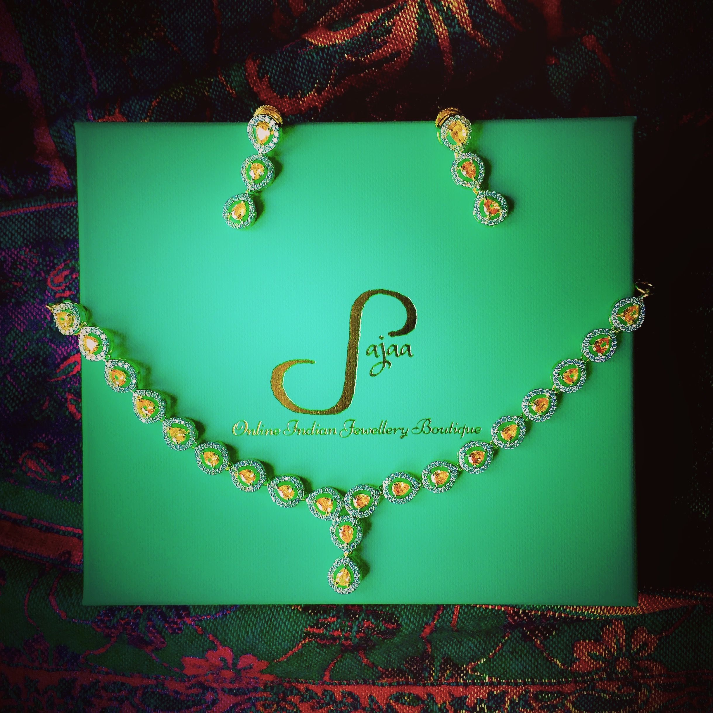 Elegant Gold Plated American Diamond Necklace And Earrings Set From Sajaa Online Indian Jewellery Boutique