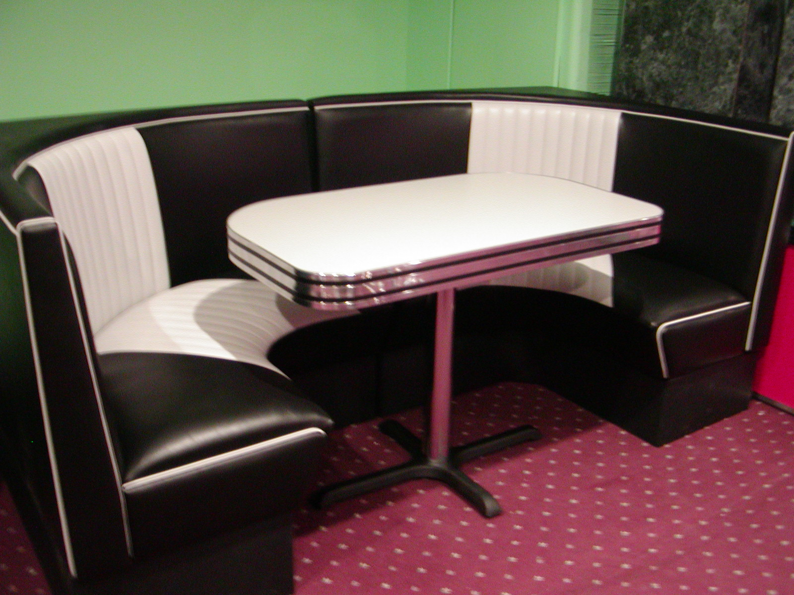 Black white half circle diner booth basement lobby - Kitchen table booth seating ...