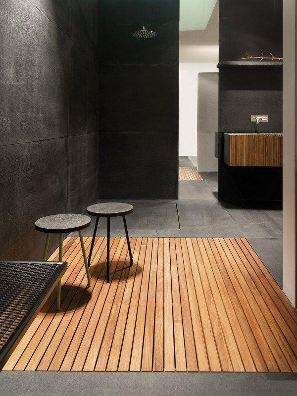 Slatted Flush Ing Teak Shower Tray