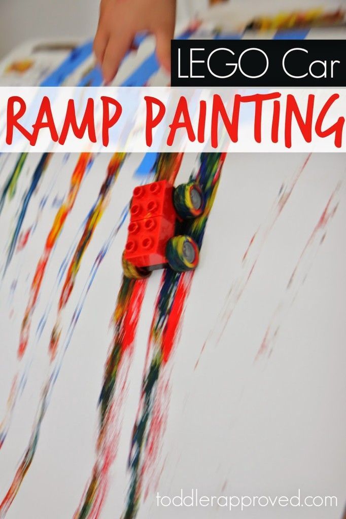 Lego Car Ramp Painting - Toddler Approved
