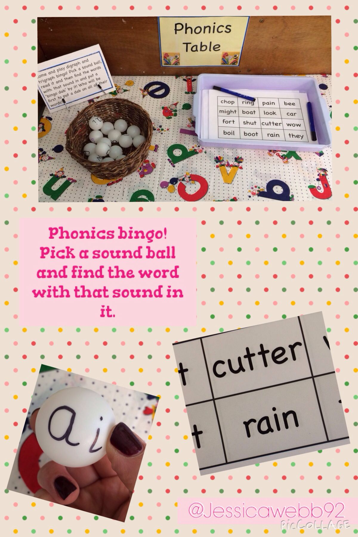 Phonics bingo! Pick a ball, read the sound and find the word