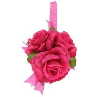 6 Hot Pink Rose Ball With Sheer Ribbon Shop Hobby Lobby Hot Pink Roses Rose Garland Wedding Shop