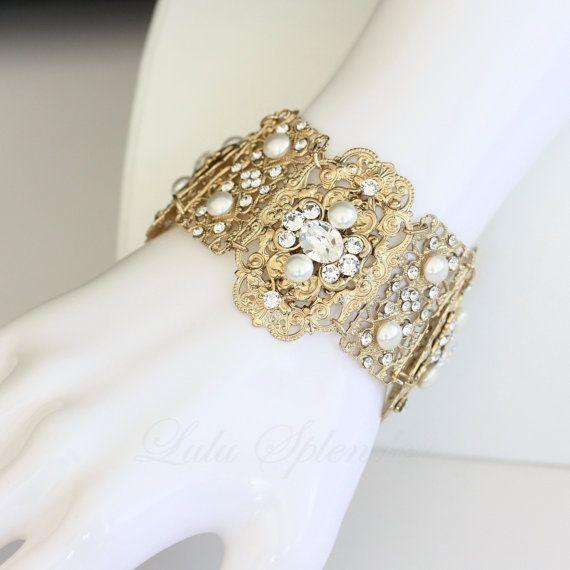 Wedding Cuff Bracelet Wide Vintage Filigree Gold Bridal Swarovski Crystal Ivory Pearl Jewelry Leila