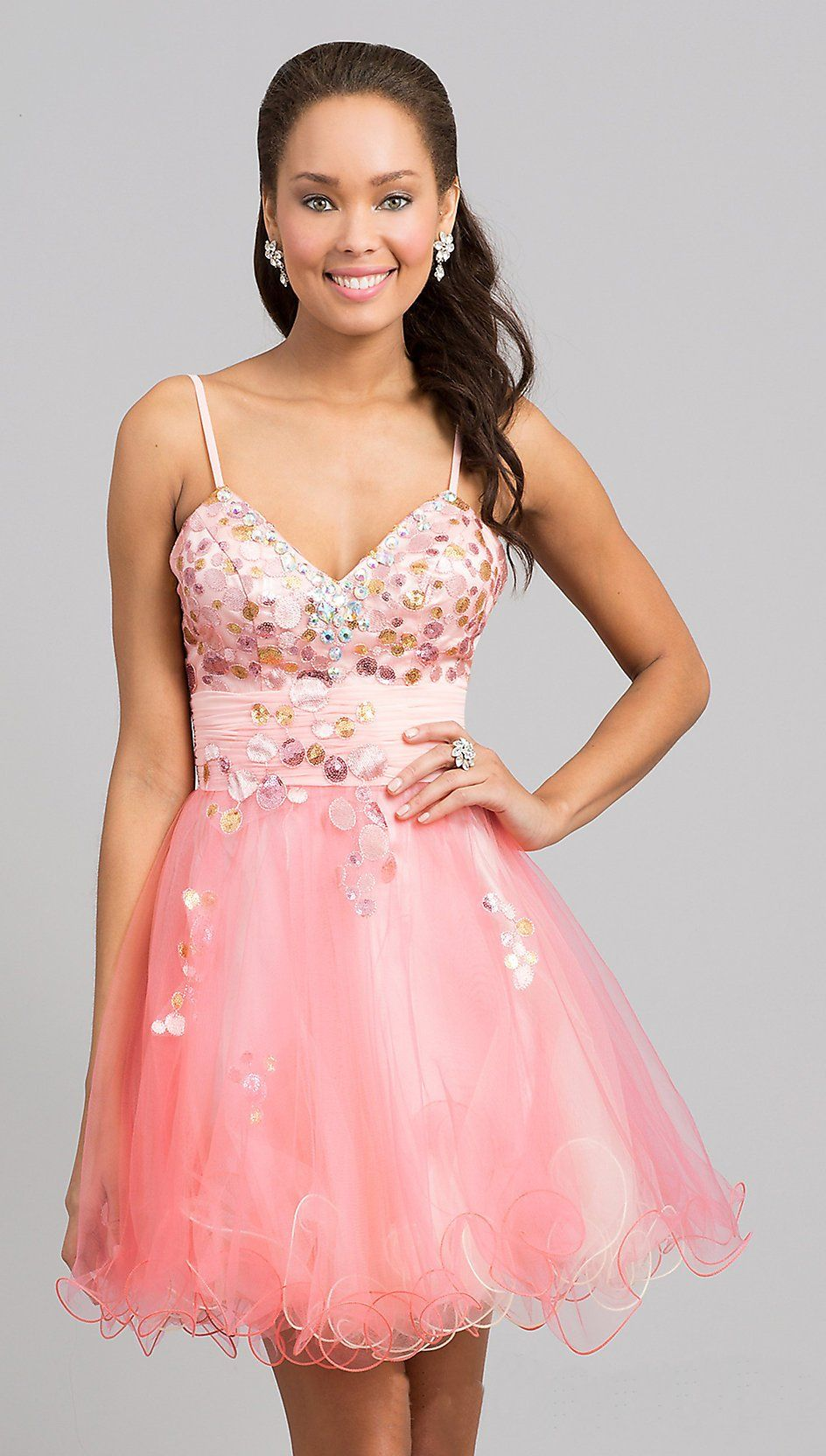short light coral poofy prom dress tulle spaghetti strap