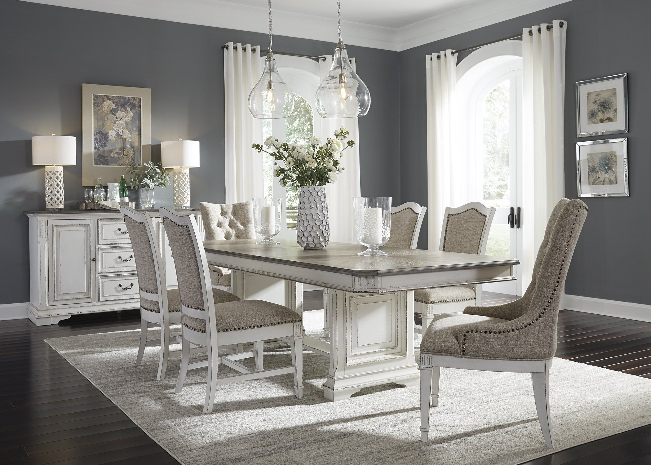 Best Abbey Park Dining 7 Piece Trestle Table Set Dinning Room 400 x 300