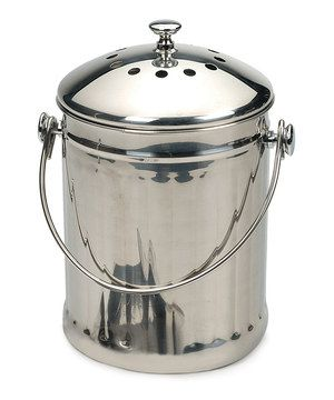 Eco-friendly composting that's easy on the eyes, this stainless steel food scrap container features two odor-reducing charcoal filters in the lid and a handle to make emptying easier.