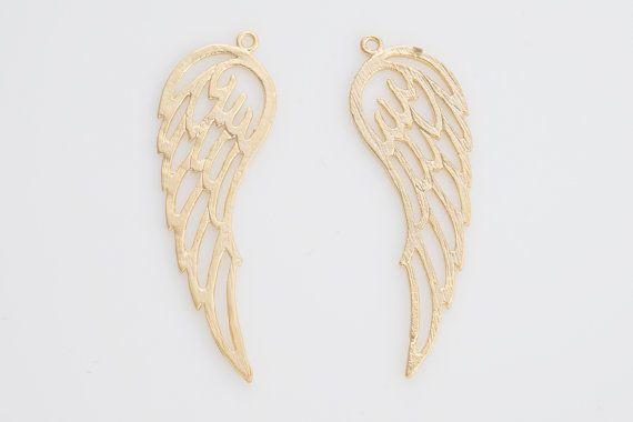 Wing Brass Pendant, Brass Pendant, Jewelry Craft Supplies, Matte Gold Plated over Brass - 2 Pieces-[AP0043]-MG
