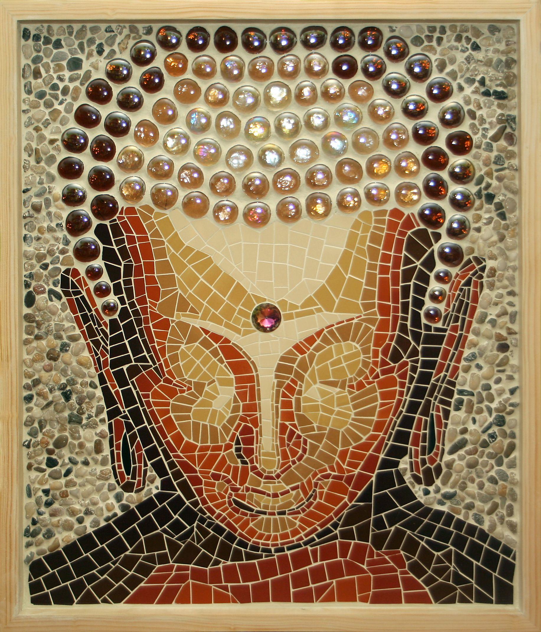 Buda buddha mosaico pato est vez cer mica piedra y for Mosaico ceramica