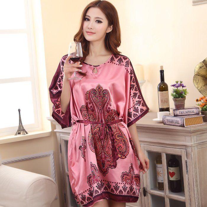 Summer Sexy Silk Nightgown Sleepshirts Women Short-sleeves Plus Size  Sleepwear Lounge Casual Satin Silky Nightwear Female Dress e5798aab0