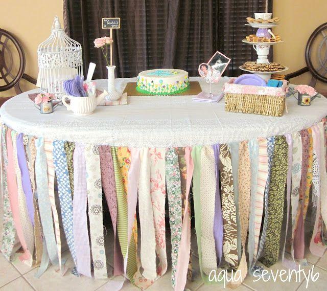 Aqua Seventy6 Rag Ribbon Table Skirt Diy Baby Shower