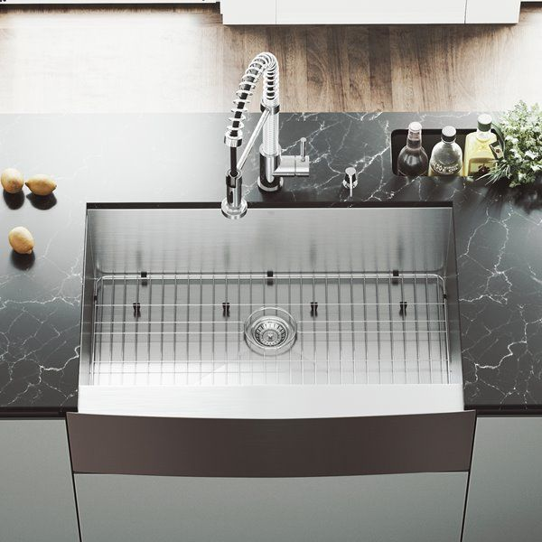 Vigo Stainless Steel Kitchen Sink Grid And Strainer 33 In Rona Farmhouse Sink Kitchen Apron Sink Kitchen Stainless Steel Faucets