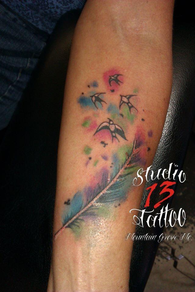#watercolor #inkblots #birds #flyingaway #soft #color #tattoo #studio13tattoomg