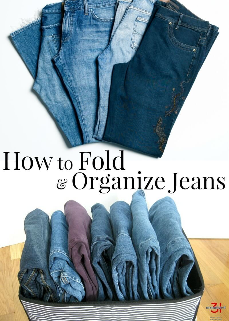 how to organize jeans in closet