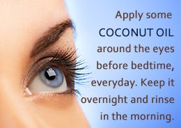Coconut oil for reducing wrinkles around the eyes