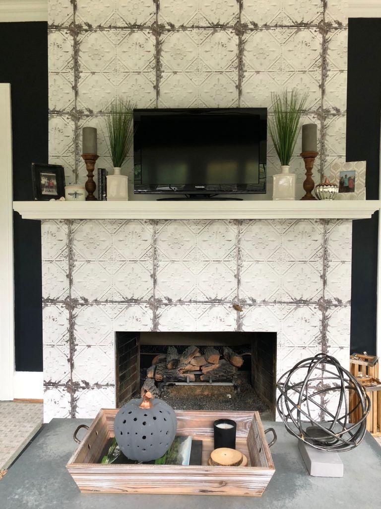 Tin Wall Tile Wallpaper Wallpaper On A Fireplace Farmhouse Style Wallpaper Faux Tin Tile Wallpaper Tin Wall Decor Wallpaper Fireplace Faux Tin Tiles