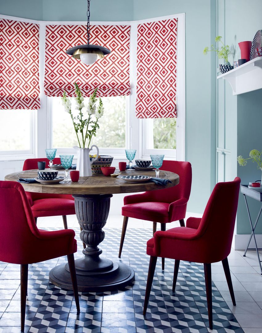 Modern Red Dining Room with Diamond Motif Blinds For the Home