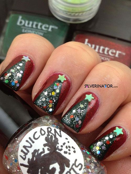 Easy Christmas Tree Nail Art Designs Ideas 2013 2014 X Mas Nails Girlshue Christmas Tree Nails Tree Nails Christmas Nails Easy