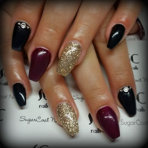 Burgundy%2c+Gold+and+Black+Coffin+Nails+by+linzi1771+-+Nail+Art+ ...