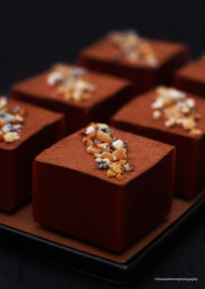 Coffee Cheesecake Blocks Topped with Hazelnuts
