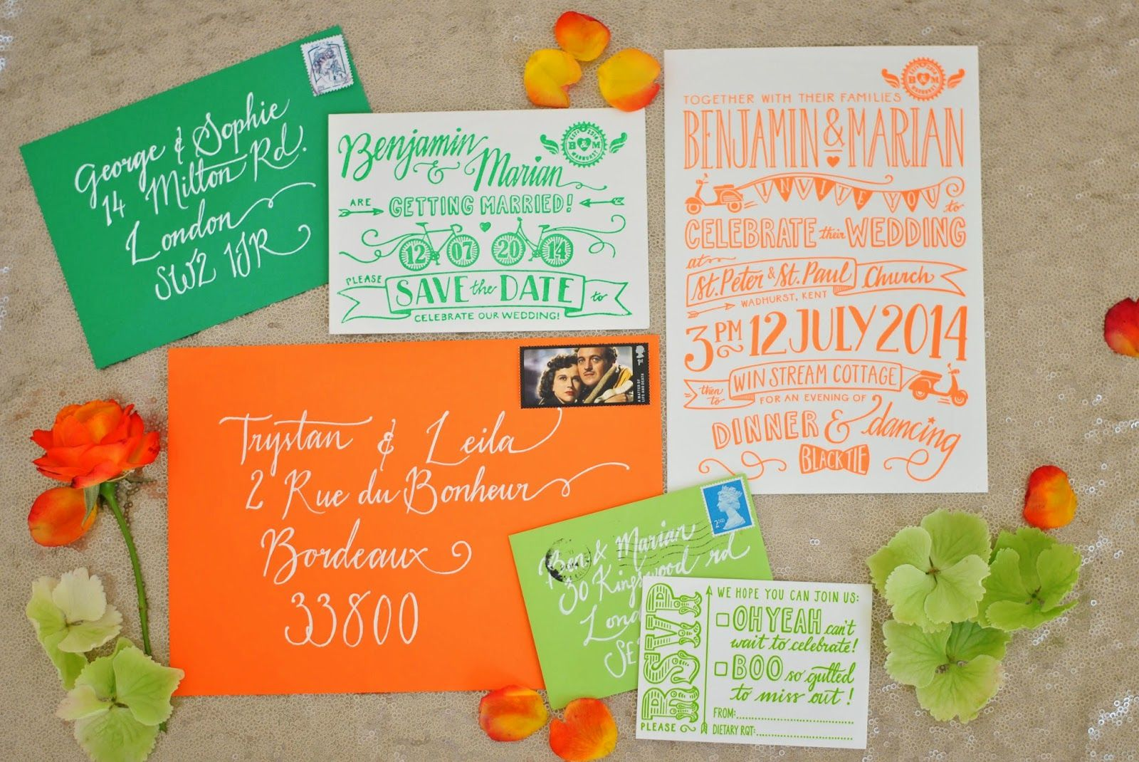 Love these bright and colourful letterpress wedding invites from