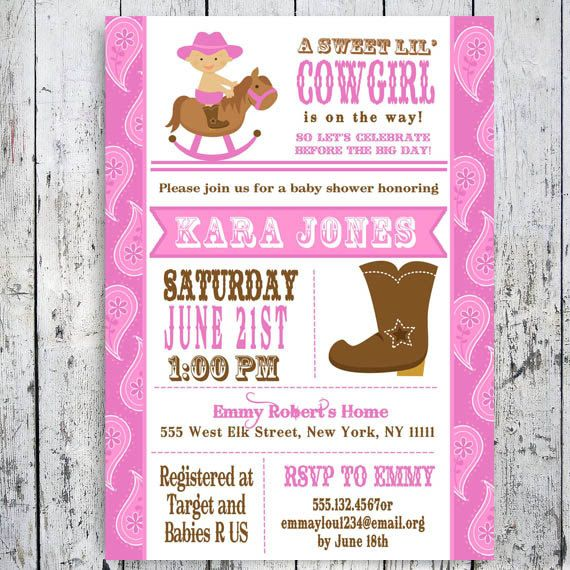Lil Cowgirl Baby Shower Invitation Custom Printable Pink Girl