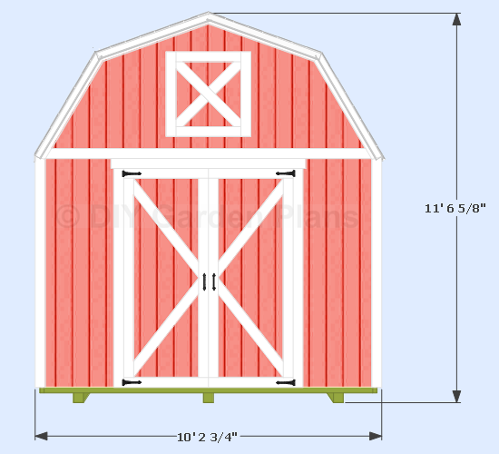 10x12 Gambrel Shed Front View Shed Plans Diy Shed Plans 10x10 Shed Plans
