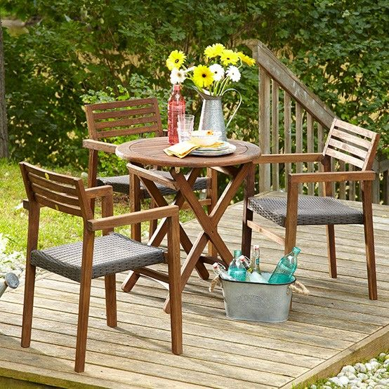 Enjoy the warm look of teak on your balcony, porch or