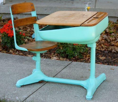 Soulmate24 Mid Century Vintage Antique School Student Desk W Swivel Chair In Antiques Furniture Desks Secretaries Unknown Ebay