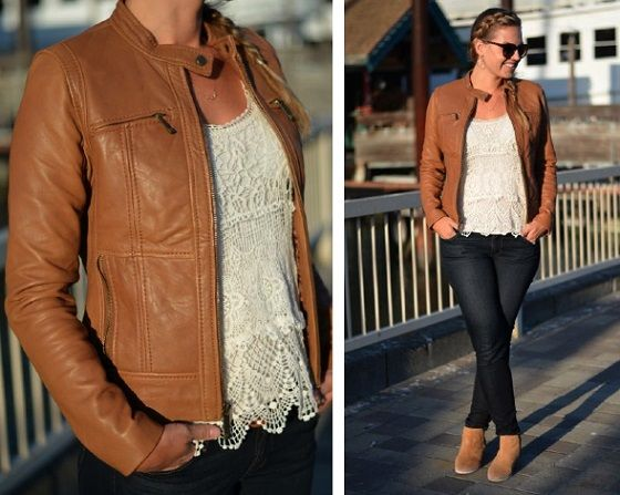 Girls Brown Leather Jacket - Coat Nj