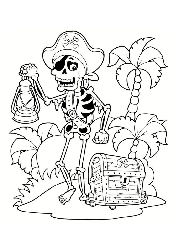 Coloriage pirate : 25 dessins à imprimer | Coloriage, Pirates dessin, Coloriage squelette