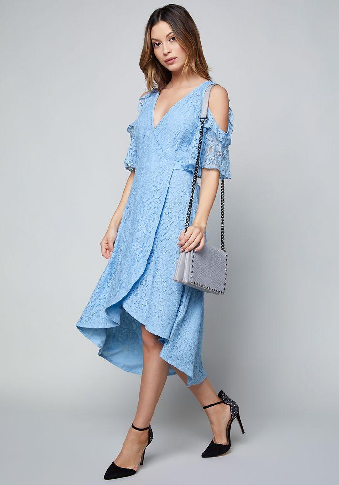 733f6fa6055 Bebe Women s Lace Wrap Dress