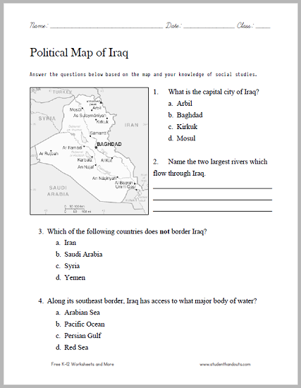 iraq political map worksheet includes four questions free to print pdf social studies. Black Bedroom Furniture Sets. Home Design Ideas